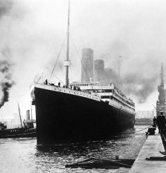 The R.M.S. Titanic sets out from the White Star Line dock at Southampton, England on April 10, 1912.