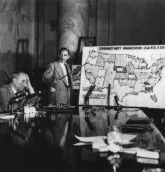 Senator Joseph McCarthy displays what he considers to be a nationwide network of Communist Party organizations