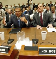 Television cameras in an Energy Committee meeting, September 3, 2003
